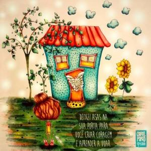 Carol Porto é uma artista que adora falar de asas, que ela diz que são essenciais para a alma. Eu não poderia deixar de trazer a arte dela para o blog, pois tem a linguagem da Cadeira Voadora. Pelo visto, somos almas irmãs!