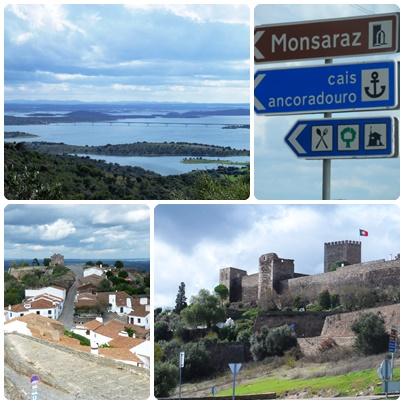 No sentido horário: o lado Alqueva, placas perto de Monsaraz, casinhas caiadas e uma fortificação.