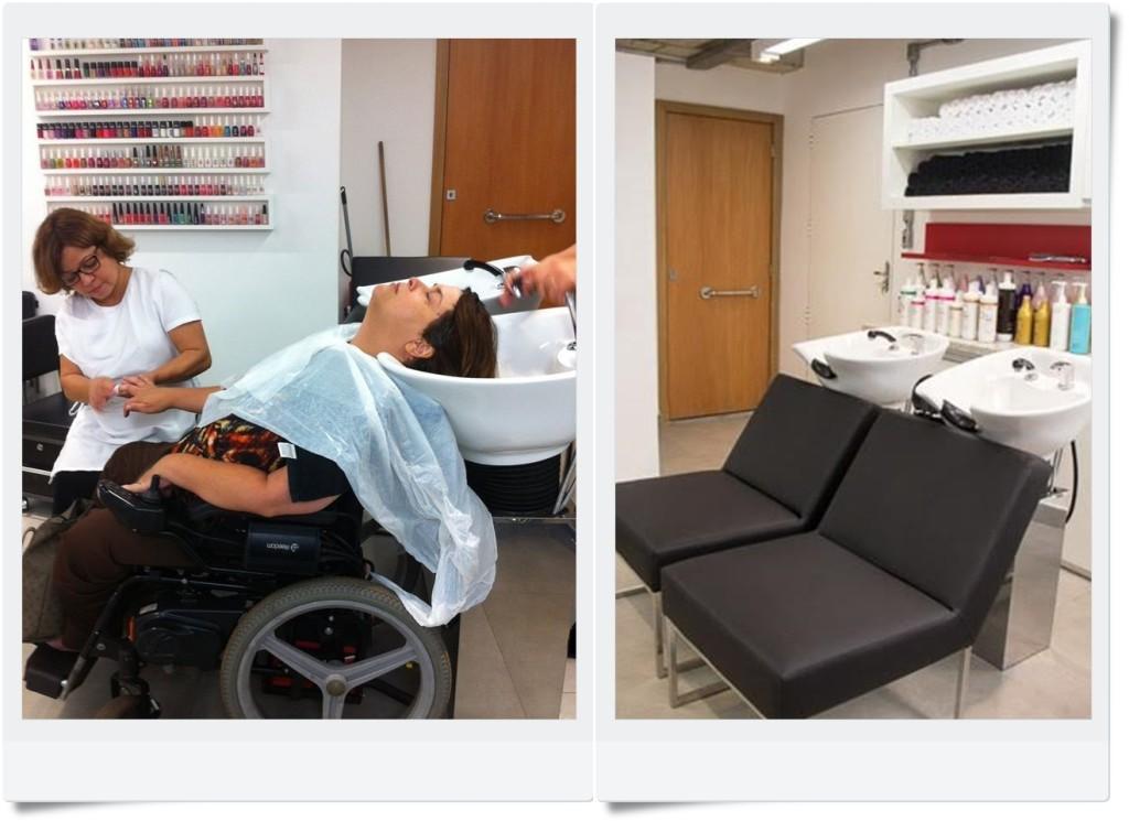 """Na foto, Kátia Ferraz se prepara para ficar ainda mais bela. Veja que a cadeira de rodas tem como se """"encaixar"""" no lavatório"""