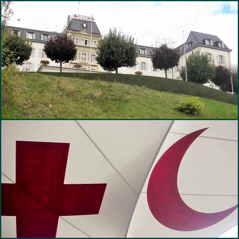 Museu da Cruz Vermelha e do Crescente Vermelho. Abaixo, toldo na entrada.