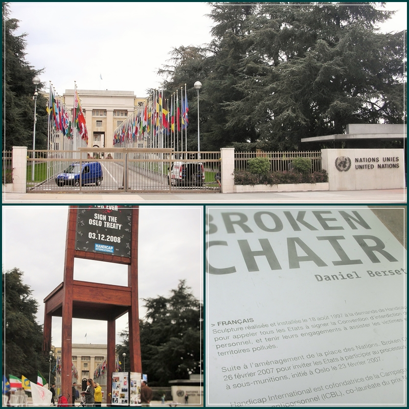 No sentido horário: o Palácio das Nações, com a sede europeia da ONU; a instalação Cadeira Quebrada, à qual falta uma perna; a placa com esclarecimentos acerca da instalação.