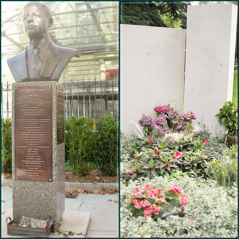 Túmulo de Sérgio Vieira de Mello no Cemitério de Plainpalais. Para quem não se lembra, ele foi Alto Comissário das Nações Unidas para os Direitos Humanos e morreu em um atentado em Bagdá, no ano de 2003.