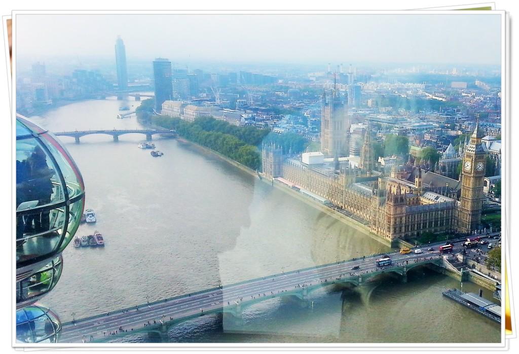O Tâmisa e o Parlamento vistos lá de cima...