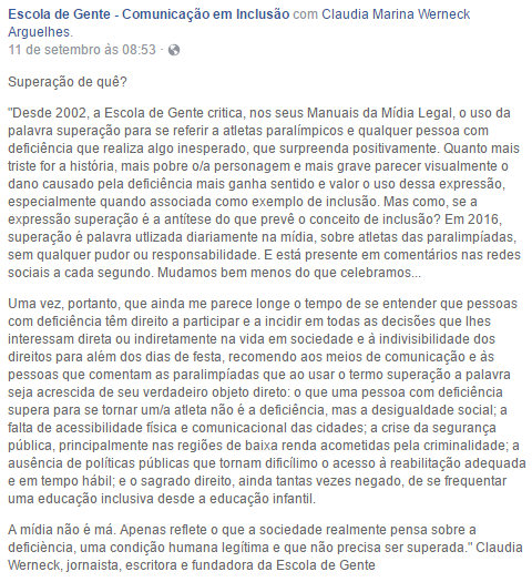"""Texto da jornalista Cláudia Werneck, publicado no Facebook durante os jogos, para refletir sobre o uso da palavra """"superação""""."""