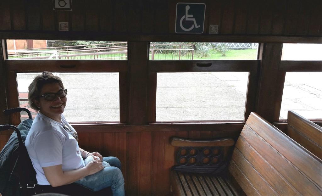 No vagão adaptado, preferi viajar na própria cadeira. O banco da frente pode ser posicionado de frente para vc.