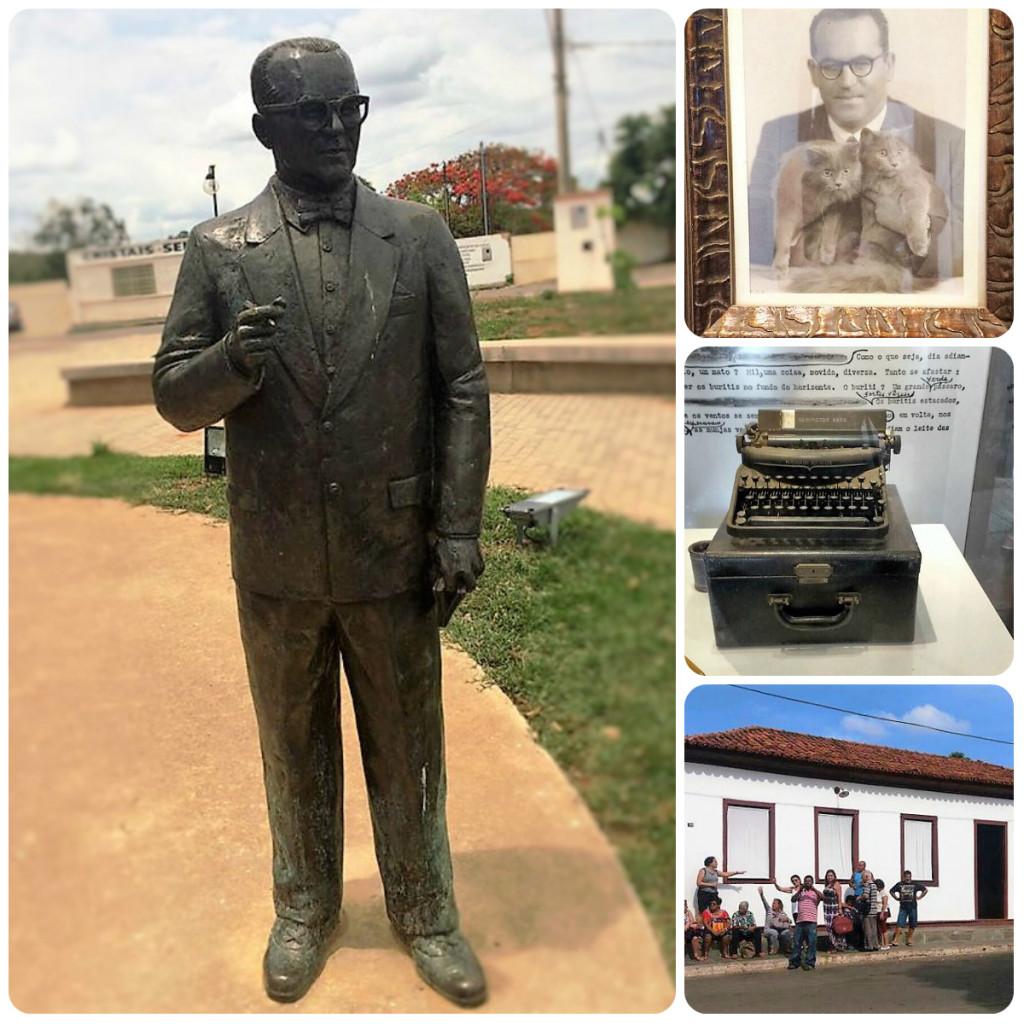 Da esquerda para a direita, estátua do escritor, fotografia e máquina de escrever que ele utilizava, e a casa onde morou.
