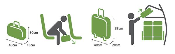 Na imagem, é possível ver como se deve acomodar a bagagem de mão.