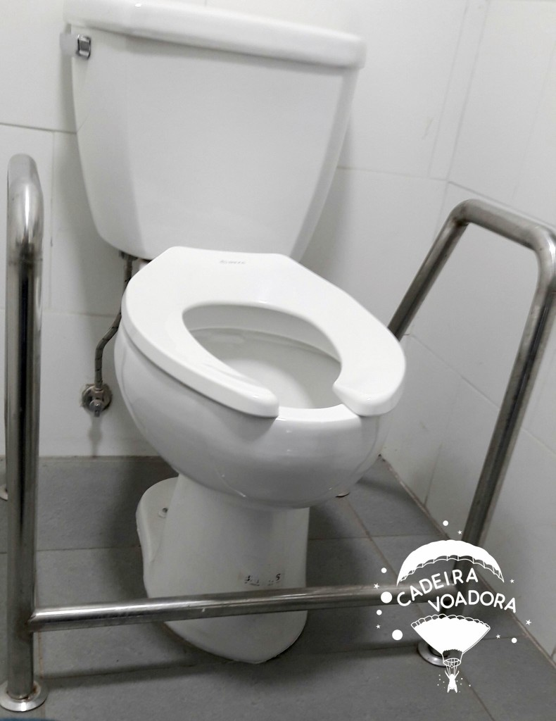 As estranhas barras de apoio no sanitário acessível da Vinícola Santa Rita...