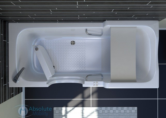 Luxor - Absoluty Mobility Com uma cinta de segurança que pode abaixar e elevar o usuário. Quando usando a porta, é necessário que o usuário entre e aguarde até que a banheira esteja cheia para iniciar seu banho, e depois é preciso esvaziar a banheira para poder sair. Fonte: http://www.absolutemobility.co.uk/product/luxor/