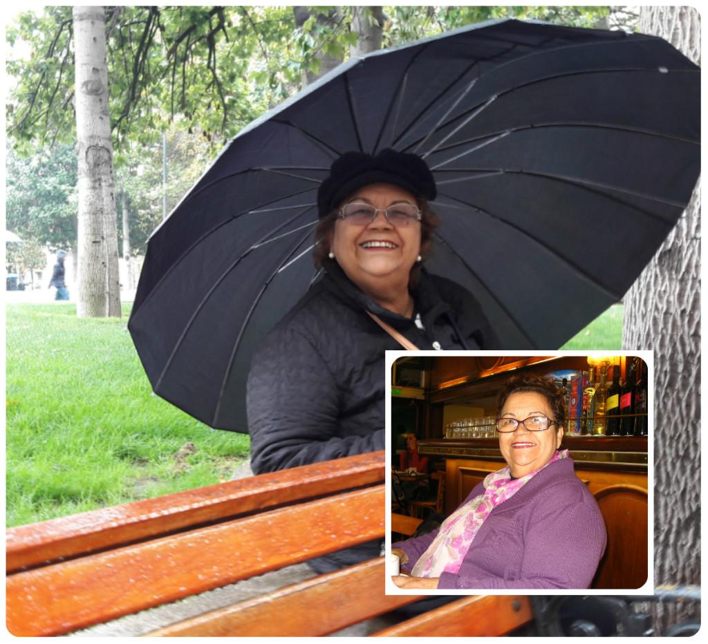 Minha mãe ama viajar. Será a quem eu puxei? N foto maior, ela está em Santiago do Chile; na menor, em Buenos Aires.