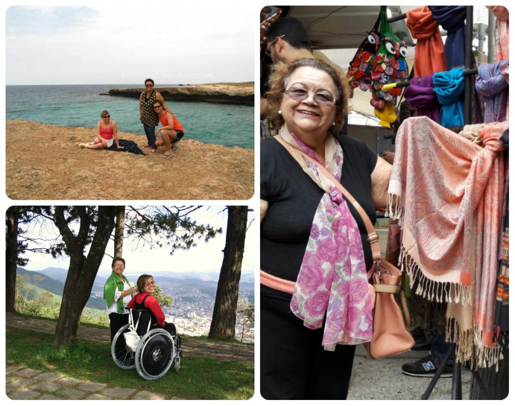 Minha mãe e eu viajamos juntas inúmeras vezes. No sentido horário: em Aruba, em Santiago e em Poços de Caldas.